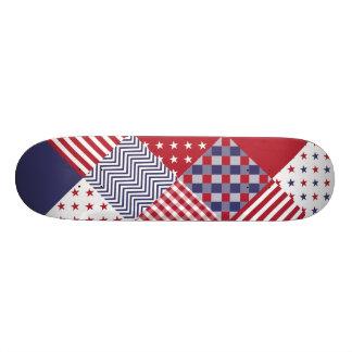 USA Americana Diagonal Red White & Blue Quilt Skateboards
