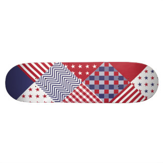 USA Americana Diagonal Red White & Blue Quilt 19.7 Cm Skateboard Deck