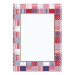 USA Americana Patchwork Red White & Blue 13 Cm X 18 Cm Invitation Card
