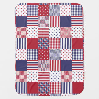 USA Americana Patchwork Red White & Blue Baby Blanket
