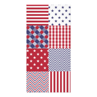 USA Americana Patchwork Red White & Blue Photo Card Template