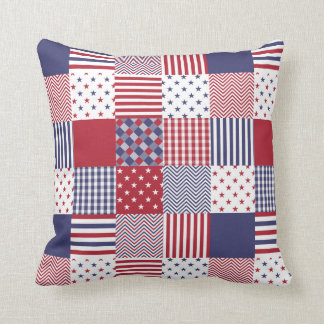 USA Americana Patchwork Red White & Blue Quilt Throw Pillow