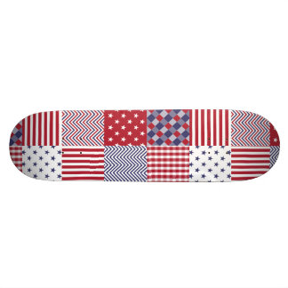 USA Americana Patchwork Red White & Blue 21.6 Cm Skateboard Deck