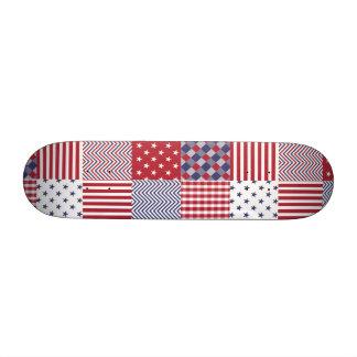 USA Americana Patchwork Red White & Blue Skateboard Deck