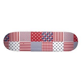 USA Americana Patchwork Red White & Blue Skateboards