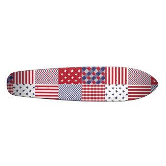USA Americana Patchwork Red White & Blue Custom Skate Board