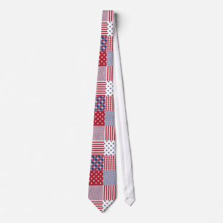 USA Americana Patchwork Red White & Blue Tie