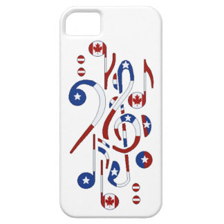 USA and Canada Flag Musical Notes iPhone 5 Cases