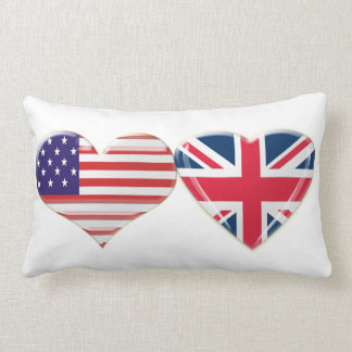 USA and English flag hearts Pillow