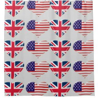 USA and English Flag Hearts Shower Curtain