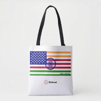 USA and India Flag Tote Bag