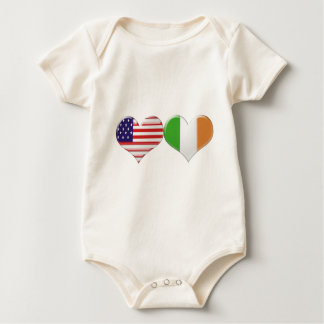 USA and Irish Heart Flags Baby Bodysuit