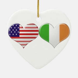 USA and Irish Heart Flags Christmas Ornament