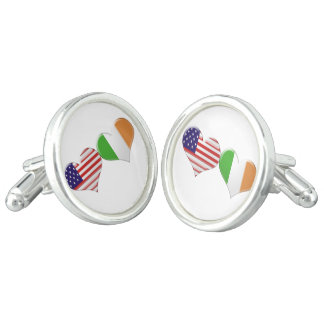 USA and Irish Heart Flags Cuff Links