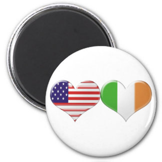 USA and Irish Heart Flags Magnet