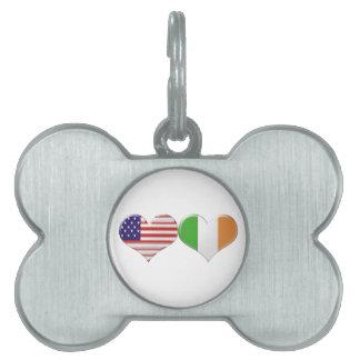 USA and Irish Heart Flags Pet Name Tag
