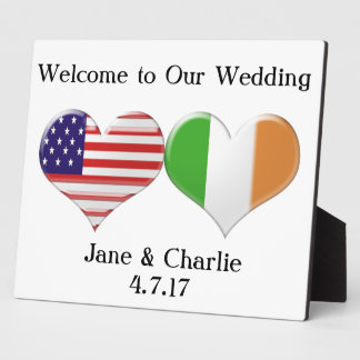 USA and Irish Heart Flags Plaque
