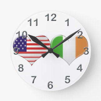 USA and Irish Heart Flags Round Clock