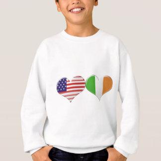 USA and Irish Heart Flags Sweatshirt