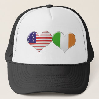 USA and Irish Heart Flags Trucker Hat