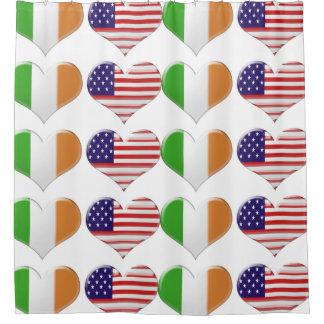USA and Italian Hearts Shower Curtain
