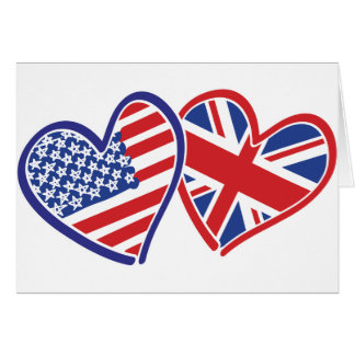 USA and UK Flag Hearts Card
