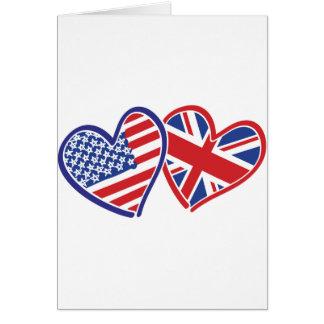 USA and UK Flag Hearts Greeting Card