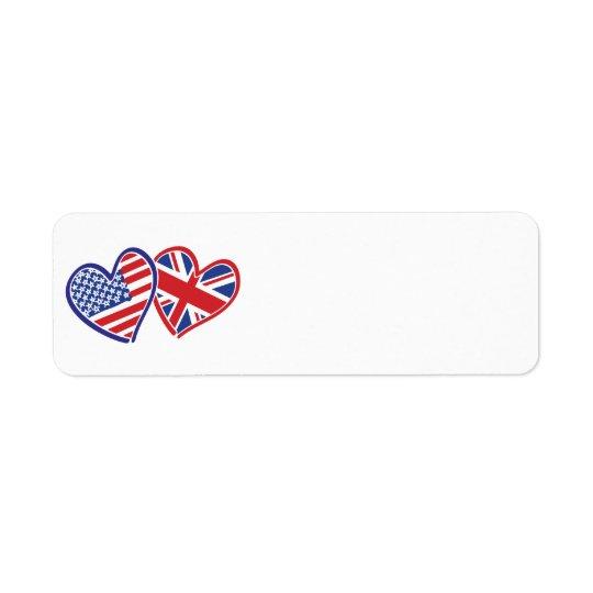 USA and UK Flag Hearts Return Address Label
