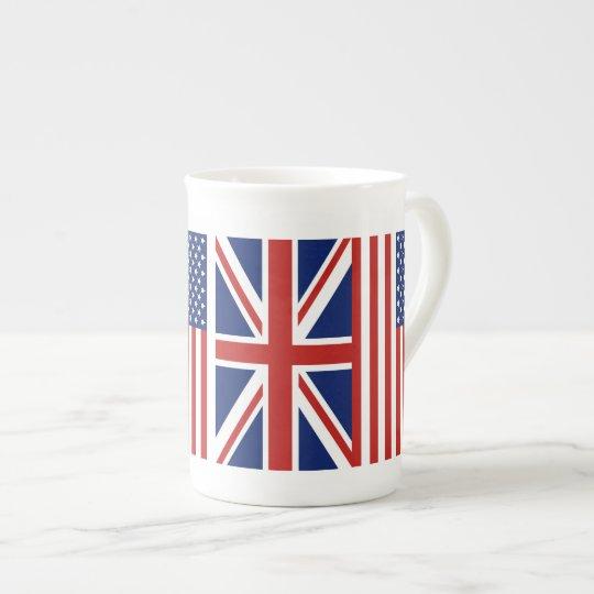 USA and UK Flags. Tea Cup