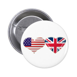 USA and UK Heart Flag Design 6 Cm Round Badge