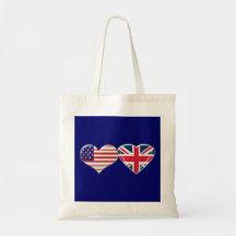 USA and UK Heart Flag Design Bag