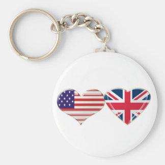 USA and UK Heart Flag Design Basic Round Button Key Ring
