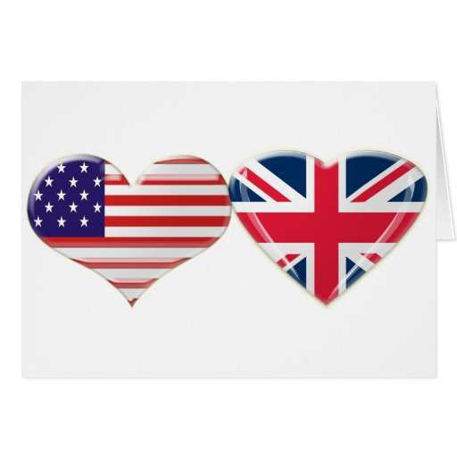 USA and UK Heart Flag Design Greeting Card