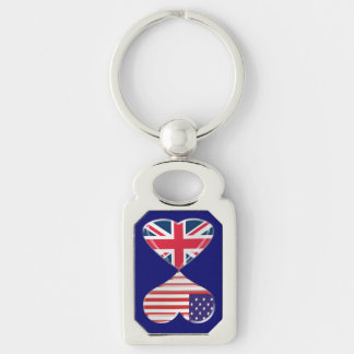 USA and UK Heart Flags Twisted Metal Key Chain Silver-Colored Rectangle Key Ring