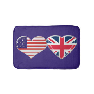 USA and UK Hearts Bath Mat