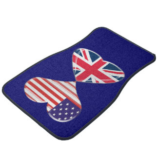 USA and UK Hearts Flags Car Mat