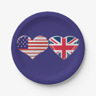 USA and UK Hearts Flags Paper Plates
