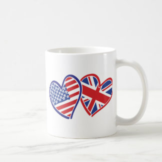 USA and UK In Hearts Showing the Love Coffee Mug