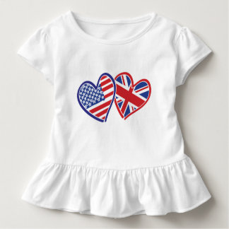 USA and UK Love Flag Hearts Toddler T-Shirt