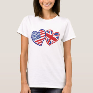 USA and UK Loving Hearts T-Shirt