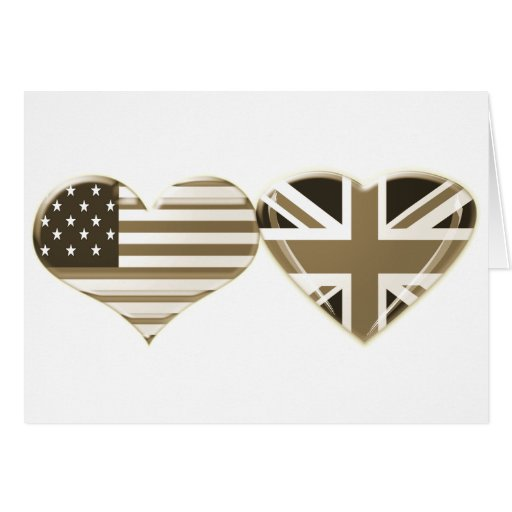 USA and UK Sepia Heart Flag Design Greeting Cards