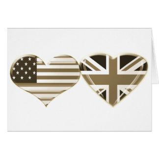 USA and UK Sepia Heart Flag Design Greeting Card