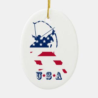 USA Archery American archer flag Christmas Ornament