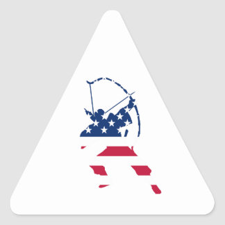 USA Archery American archer flag Triangle Sticker