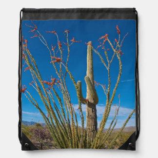 USA, Arizona. Cactus In Saguaro National Park Drawstring Bag