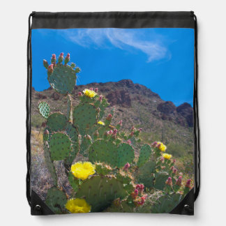 USA, Arizona. Cactus In The Hills Drawstring Bag