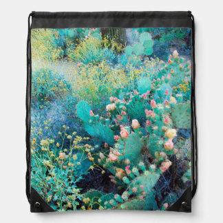 USA, Arizona. Cactus On The Hill Drawstring Bag