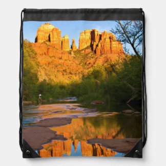 USA, Arizona. Cathedral Rock At Sunset Drawstring Bag