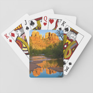 USA, Arizona. Cathedral Rock At Sunset Playing Cards