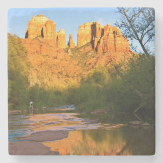 USA, Arizona. Cathedral Rock At Sunset Stone Coaster
